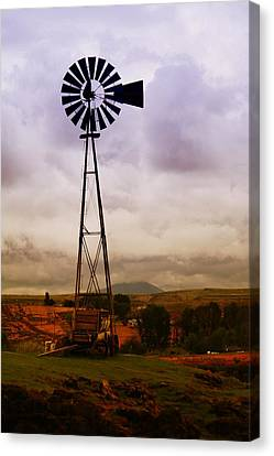 A Windmill And Wagon  Canvas Print by Jeff Swan