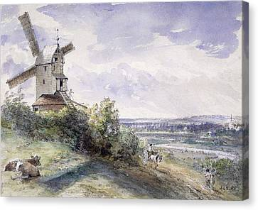 A Windmill At Stoke By Nayland Canvas Print by John Constable