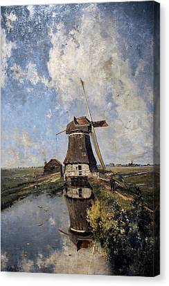 A Windmill On A Polder Waterway, Known As In The Month Of July, C. 1889, By Paul Joseph Constantin Canvas Print by Bridgeman Images