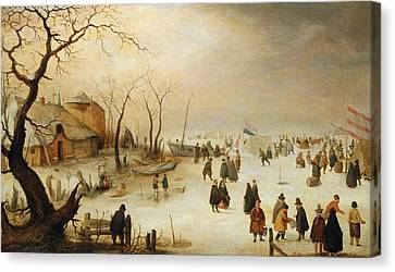 A Winter River Landscape With Figures On The Ice Canvas Print by Hendrik Avercamp