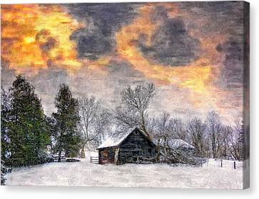 A Winter Sky Paint Version Canvas Print by Steve Harrington