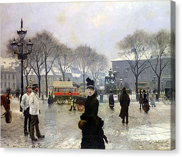 A Winters Day Canvas Print by Paul Gustav Fischer