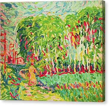 A Woman In A Birch Wood Canvas Print by Ernst Ludwig Kirchner
