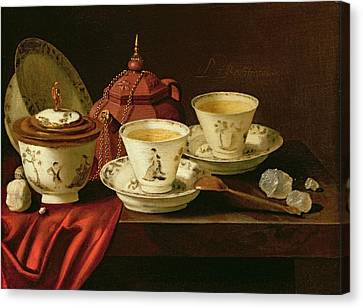 A Yixing Teapot And A Chinese Porcelain Tete-a-tete On A Partly Draped Ledge Oil On Canvas Canvas Print by Pieter Gerritsz. van Roestraten