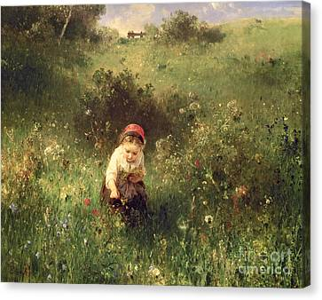 A Young Girl In A Field Canvas Print by Ludwig Knaus
