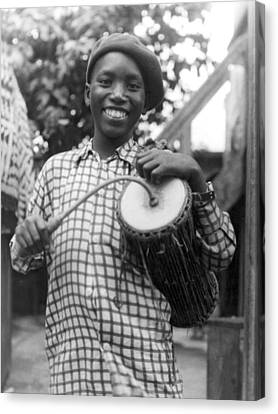A Young Yoruba Drummer Canvas Print by Underwood Archives