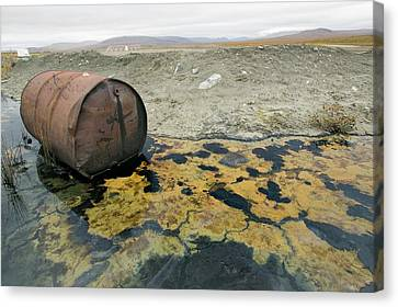 Abandoned Barrels Of Leaking Waste Oil Canvas Print by Ashley Cooper