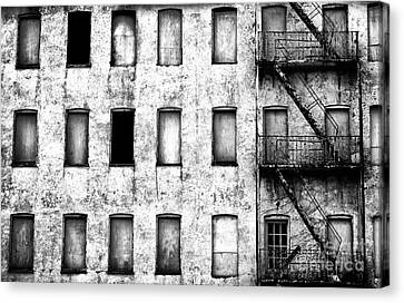Abandoned In Asbury Park Bw Canvas Print by John Rizzuto