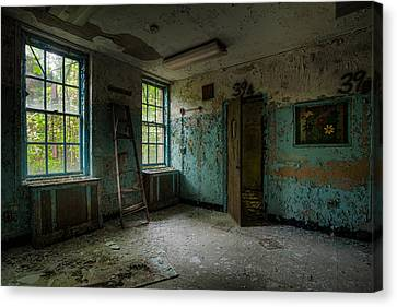 Abandoned Places - Asylum - Old Windows - Waiting Room Canvas Print by Gary Heller