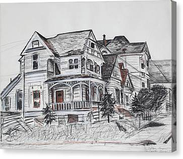 Abandoned Victorian And Neighbors In Oakland California Canvas Print by Asha Carolyn Young