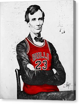 Abe Lincoln In A Bulls Jersey Canvas Print by Roly Orihuela