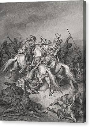 Abishai Saves The Life Of David Canvas Print by Gustave Dore