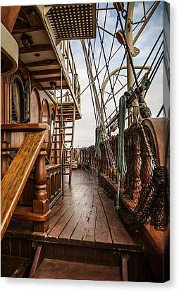 Aboard The Tall Ship Peacemaker Canvas Print by Dale Kincaid