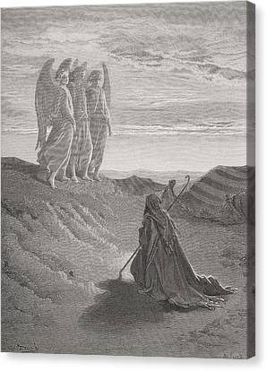 Abraham And The Three Angels Canvas Print by Gustave Dore