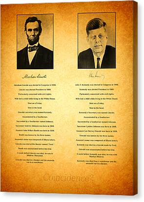 Abraham Lincoln And John F Kennedy Presidential Similarities And Coincidences Conspiracy Theory Fun Canvas Print by Design Turnpike