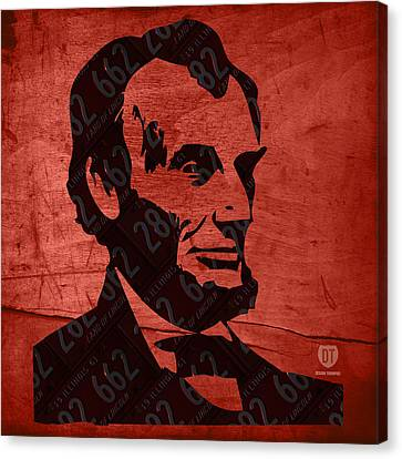 Abraham Lincoln License Plate Art Canvas Print by Design Turnpike