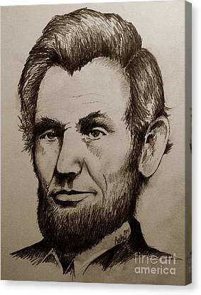 Abraham Lincoln Sepia Tone Canvas Print by Catherine Howley