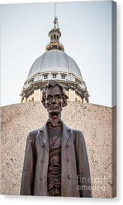 Abraham Lincoln Statue At Illinois State Capitol Canvas Print by Paul Velgos