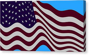 Abstract Burgundy Grey Violet 50 Star American Flag Flying Cropped Canvas Print by L Brown