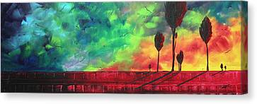 Abstract Art Original Colorful Landscape Painting Burning Skies By Madart  Canvas Print by Megan Duncanson
