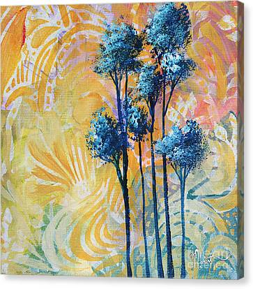 Abstract Art Original Landscape Painting Contemporary Design Blue Trees II By Madart Canvas Print by Megan Duncanson