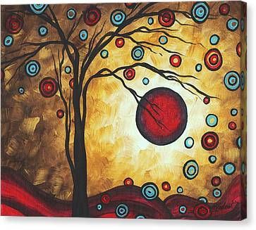 Abstract Art Original Metallic Gold Landscape Painting Freedom Of Joy By Madart Canvas Print by Megan Duncanson