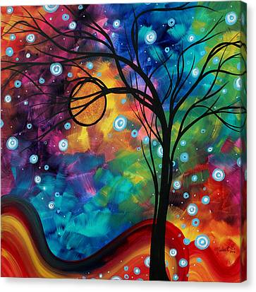 Abstract Art Original Painting Winter Cold By Madart Canvas Print by Megan Duncanson