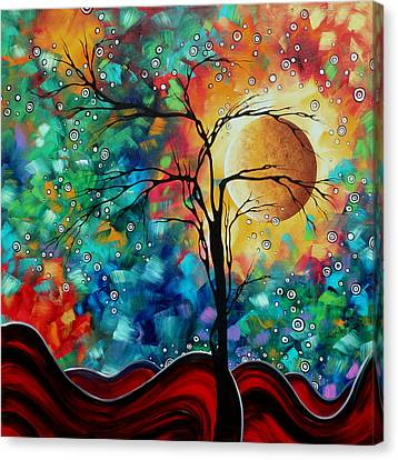 Abstract Art Original Whimsical Modern Landscape Painting Bursting Forth By Madart Canvas Print by Megan Duncanson