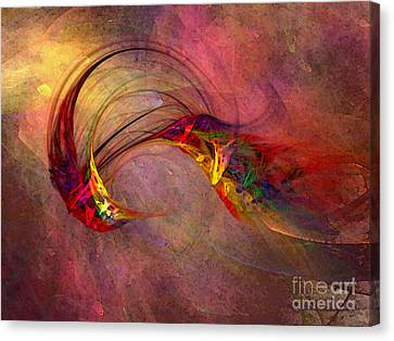 Abstract Art Print Hummingbird Canvas Print by Karin Kuhlmann