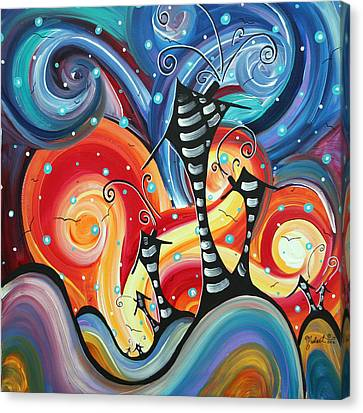 Abstract Art Whimsical Cityscape Funky Houses Homeland By Madart Canvas Print by Megan Duncanson