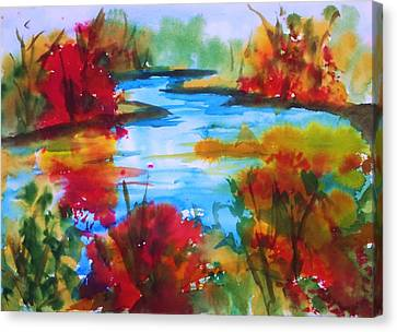 Abstract - Autumn Blaze On Catskill Creek Canvas Print by Ellen Levinson