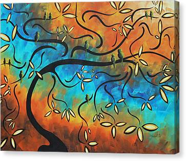 Abstract Bird Painting Original Art Madart Tree House Canvas Print by Megan Duncanson
