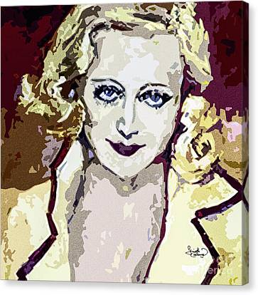 Abstract Carol Lombard Portrait  Canvas Print by Ginette Callaway