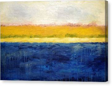 Abstract Dunes With Blue And Gold Canvas Print by Michelle Calkins