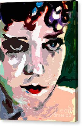 Abstract Gloria Swanson Silent Movie Star Canvas Print by Ginette Callaway