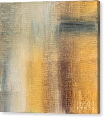 Abstract Golden Yellow Gray Contemporary Trendy Painting Fluid Gold Abstract II By Madart Studios Canvas Print by Megan Duncanson