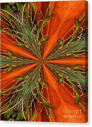 Abstract Green And Orange Shapes Canvas Print by Smilin Eyes  Treasures