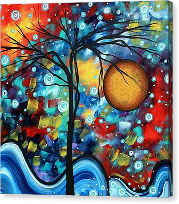 Abstract Landscap Art Original Circle Of Life Painting Sweet Serenity By Madart Canvas Print by Megan Duncanson
