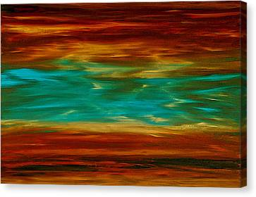 Abstract Landscape Art - Fire Over Copper Lake - By Sharon Cummings Canvas Print by Sharon Cummings