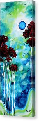 Abstract Landscape Art Original Tree And Moon Painting Blue Moon By Madart Canvas Print by Megan Duncanson