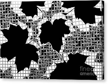 Abstract Leaf Pattern - Black White Grey Canvas Print by Natalie Kinnear