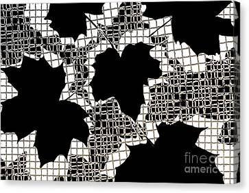 Abstract Leaf Pattern - Black White Sepia Canvas Print by Natalie Kinnear