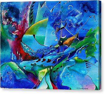 Abstract Mindscape No.5-improvisation Piano And Trumpet Canvas Print by Wolfgang Schweizer