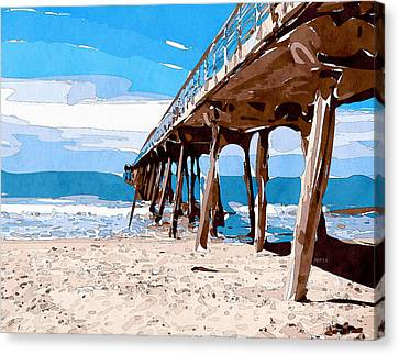 Abstract Ocean Pier Canvas Print by Phil Perkins