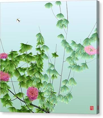 Abstract Peony Wasp Canvas Print by GuoJun Pan