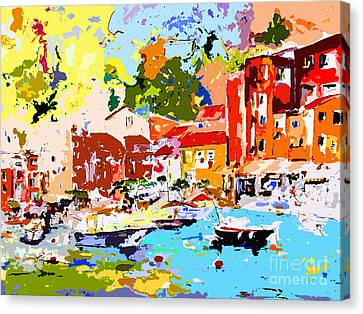Abstract Portofino Italy Canvas Print by Ginette Callaway