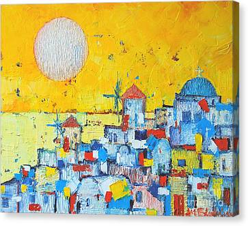 Abstract Santorini - Oia Before Sunset Canvas Print by Ana Maria Edulescu