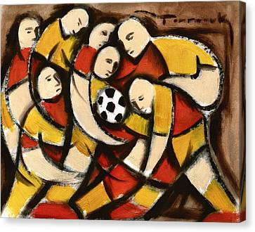 Abstract Soccer Players Art Print Canvas Print by Tommervik