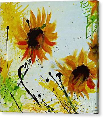 Abstract Sunflowers 2 Canvas Print by Ismeta Gruenwald
