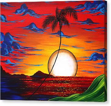 Abstract Surreal Tropical Coastal Art Original Painting Tropical Resonance By Madart Canvas Print by Megan Duncanson